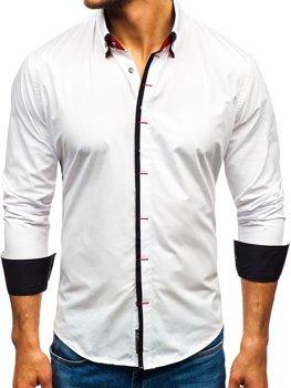 Biela pánska elegantá košeľa s dlhými rukávmi BOLF 2767