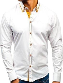 Biela pánska elegantá košeľa s dlhými rukávmi BOLF 3703