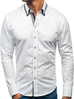 Biela pánska elegantá košeľa s dlhými rukávmi BOLF 3704-1