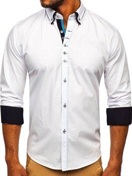 Biela pánska elegantá košeľa s dlhými rukávmi BOLF 3708