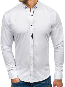 Biela pánska elegantá košeľa s dlhými rukávmi BOLF 7711