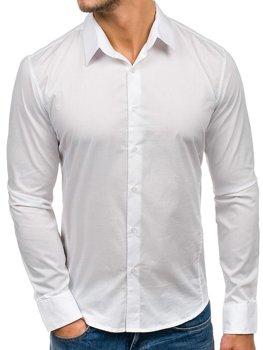 Biela pánska elegantná košeľa s dlhými rukávmi BOLF 142