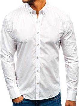 bc8518bfc216 Biela pánska elegantná košeľa s dlhými rukávmi BOLF 5821