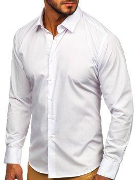 Biela pánska elegantná košeľa s dlhými rukávmi Bolf 0001