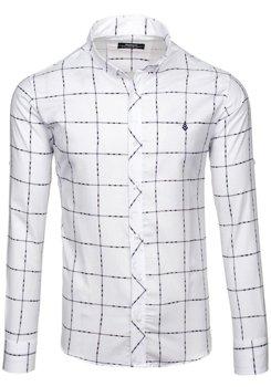 Biela pánska károvaná košeľa s dlhými rukávmi BOLF 0280