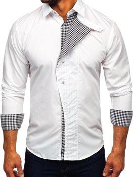 1ccd4bf1a2 Biela pánska košeľa s dlhými rukávmi BOLF 5746-A