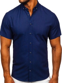 Biela pánska košeľa s krátkymi rukávmi Bolf 20501