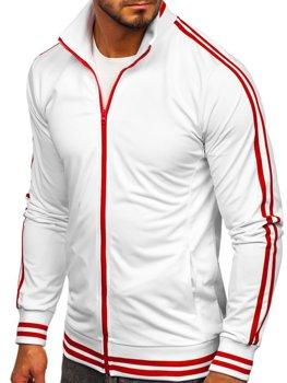 Biela pánska mikina na zips bez kapucne retro style Bolf 11113