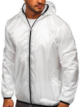 Biela pánska prechodná bunda s kapucňou BOLF 5060
