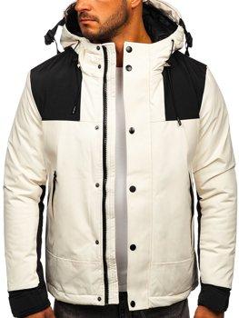 Biela pánska prešívaná zimná bunda Bolf J1905