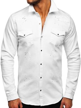 Biela pánska riflová košeľa s dlhými rukávmi Bolf R803