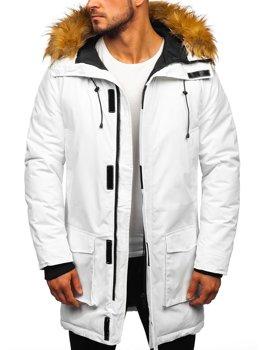 Biela pánska zimná bunda parka Bolf 201902