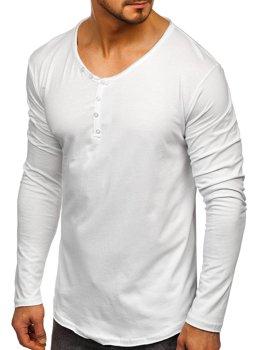 Biele pánske tričko s dlhými rukávmi bez potlače Bolf 5059