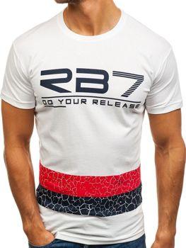 Biele pánske tričko s potlačou BOLF 0008