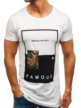 Biele pánske tričko s potlačou BOLF 1014