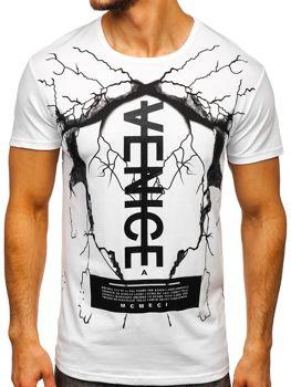 Biele pánske tričko s potlačou BOLF 10872