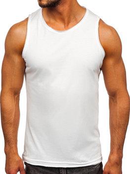 Biele pánske tričko/tielko Tank Top bez potlače Bolf 1205