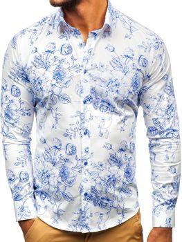 213c3f94815d Bielo-modrá pánska vzorovaná košeľa s dlhými rukávmi BOLF 200G66