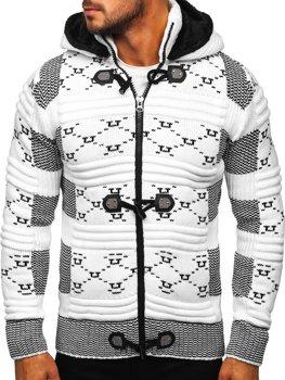 Biely hrubý pánsky sveter/bunda so zapínaním na zips s kapucňou Bolf 2059
