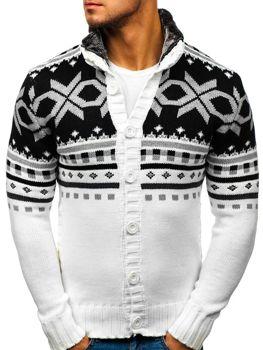 Biely pánsky rozopínací sveter BOLF 585