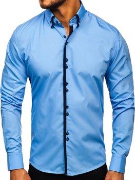 138c73e78071 Blankytná pánska elegantná košeľa s dlhými rukávmi BOLF 1721-1