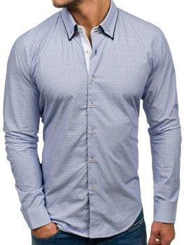 Blankytná pánska elegantná košeľa s dlhými rukávmi BOLF 9658
