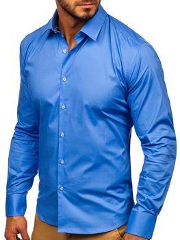 Blankytná pánska elegantná košeľa s dlhými rukávmi Bolf TS50