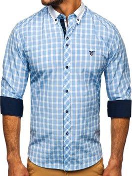 Blankytná pánska kockovaná košeľa s dlhými rukávmi BOLF 5737