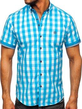 Bledomodrá pánska károvaná košeľa s krátkymi rukávmi Bolf 4508
