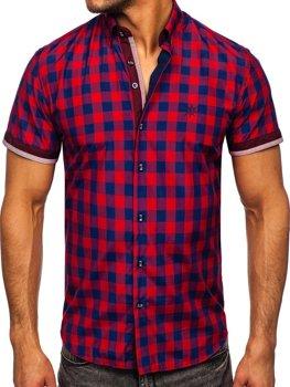 Bordová pánska károvaná košeľa s krátkymi rukávmi Bolf 4508