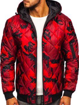 Červená maskáčová pánska športová prechodná bunda Bolf MY21M