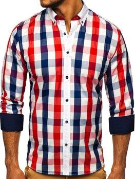 Červená pánska károvaná košeľa s dlhými rukávmi  Bolf 9718