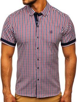 Červená pánska károvaná košeľa s krátkymi rukávmi BOLF 4510