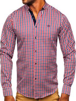 db8a2fcc00d2 Červená pánska károvaná vichy košeľa s dlhými rukávmi BOLF 4712