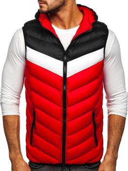 Červená pánska prešívaná vesta s kapucňou Bolf HDL88004