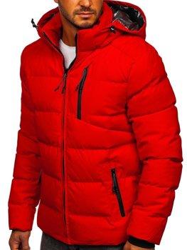Červená pánska prešívaná zimná bunda Bolf J1906