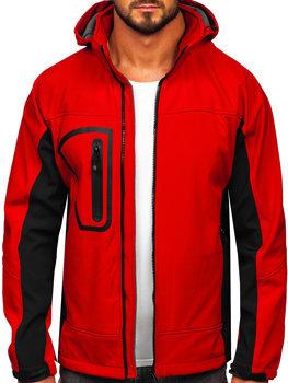 Červená pánska softshellová bunda BOLF T019