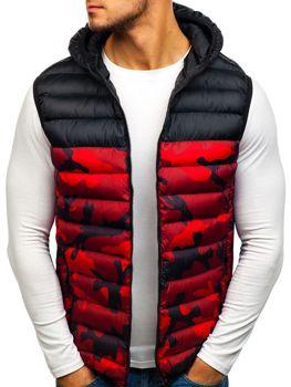 Červená pánska vesta s kapucňou BOLF SM27 e0f52926c26