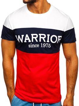 Červené pánske tričko s potlačou Bolf 100693