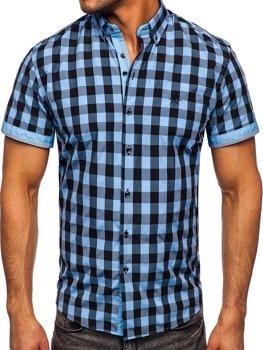Čierna/bledomodrá pánska károvaná košeľa s krátkymi rukávmi Bolf 4508