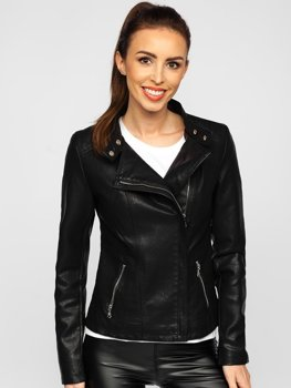 Čierna dámska koženková bunda Bolf 2052