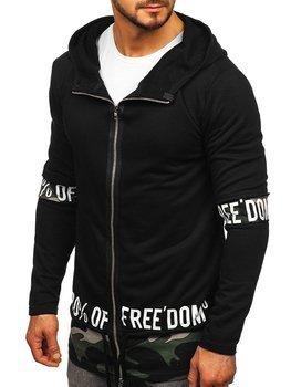 Čierna pánska dlhá mikina na zips s kapucňou BOLF 171407