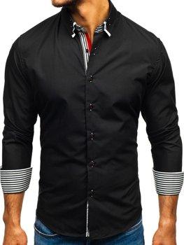 Čierna pánska elegantá košeľa s dlhými rukávmi BOLF 1747