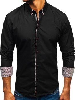 Čierna pánska elegantá košeľa s dlhými rukávmi BOLF 2701-1