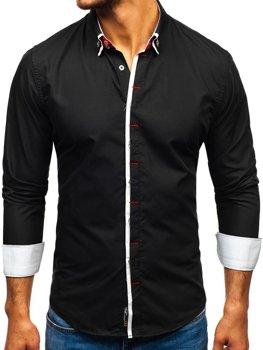 Čierna pánska elegantá košeľa s dlhými rukávmi BOLF 2767