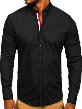 Čierna pánska elegantá košeľa s dlhými rukávmi BOLF 3713