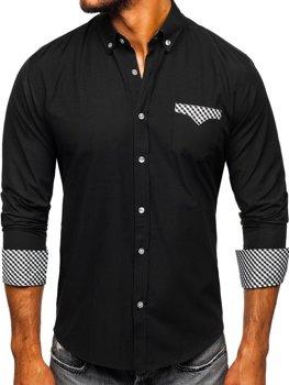 Čierna pánska elegantná košeľa s dlhými rukávmi BOLF 4711