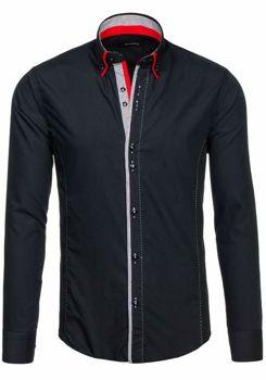 Čierna pánska elegantná košeľa s dlhými rukávmi BOLF 6859