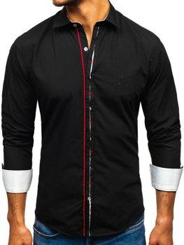 Čierna pánska elegantná košeľa s dlhými rukávmi Bolf 1769-A