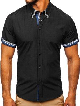 c12e65d7d2c4 Čierna pánska košeľa s krátkymi rukávmi BOLF 2911